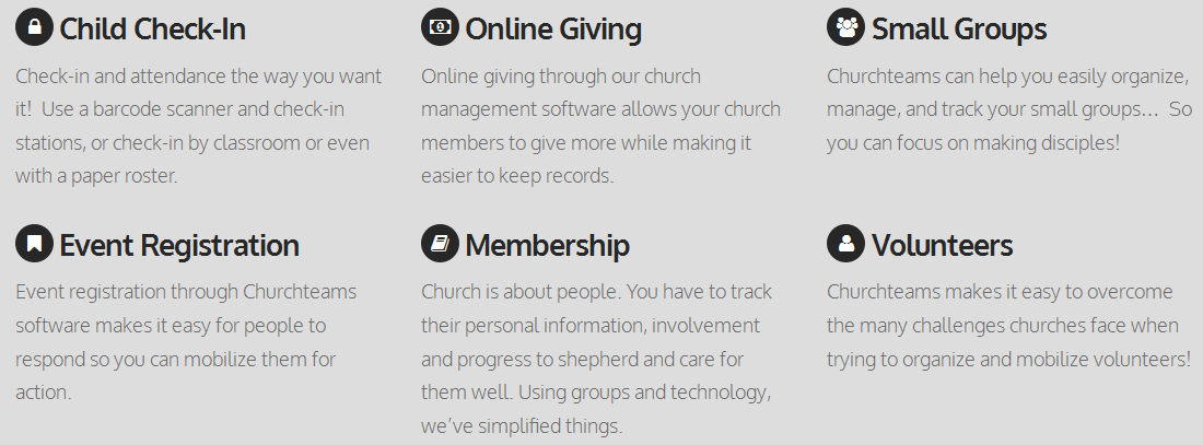 Churchteams Church Management Software - Features
